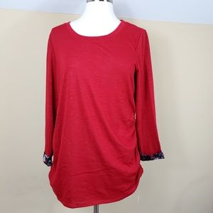 ELLE Red Ruched Sweater with Floral Detail
